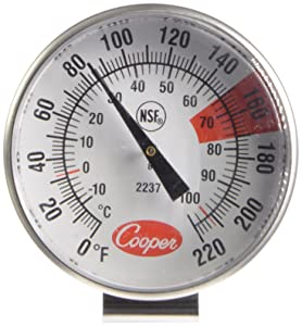 COOPER - 123186 Cooper-Atkins 2237-04-8 Stainless Steel Bi-Metal Espresso Milk Frothing Thermometer, -10 to 104°C