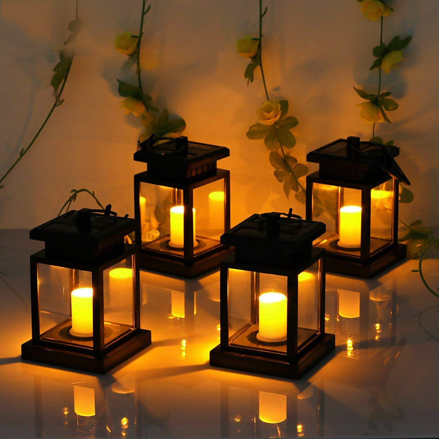 Derlights Hanging Solar Lantern 4 Pack, Waterproof Solar Candle Lantern, Solar Lights Outdoor Decorative with Clamp for Garden Patio Pavilion Beach Umbrella Tree by Derlights