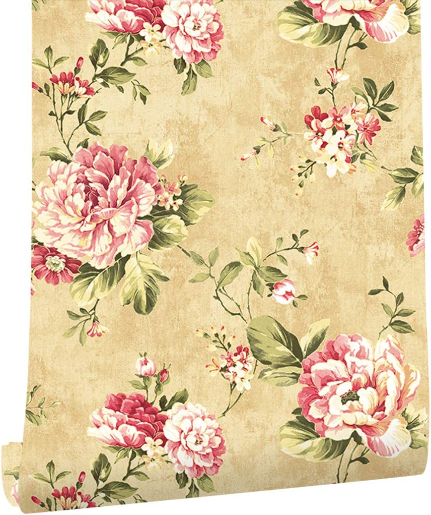 Haokhome Dr3075 Non Woven Vintage Flower Wallpaper Blue Home