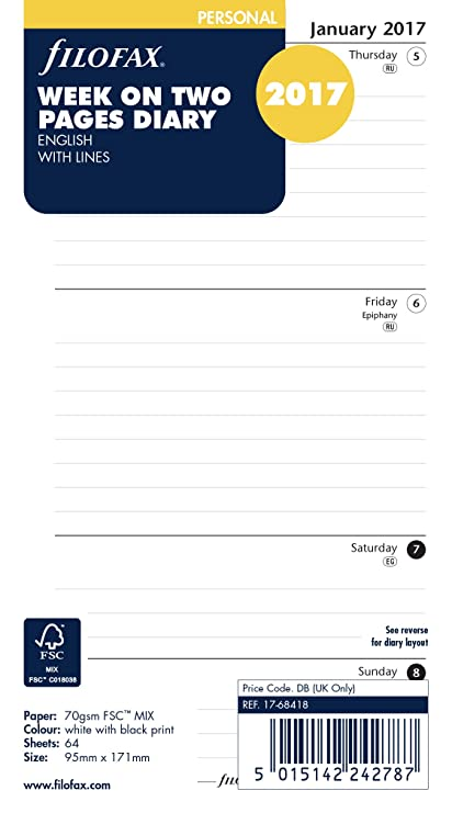 Filofax Pocket - Recambio para agenda personal (año 2017, 1 semana en 2 páginas) [puede estar en inglés]