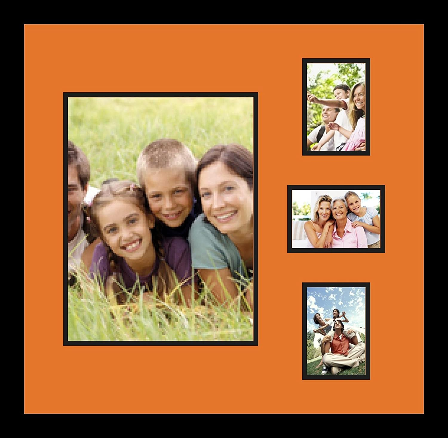 Art to Frames Double-Multimat-1148-712//89-FRBW26079 Collage Photo Frame Double Mat with 1-10x13 and 3-3.5x5 Openings and Satin Black Frame