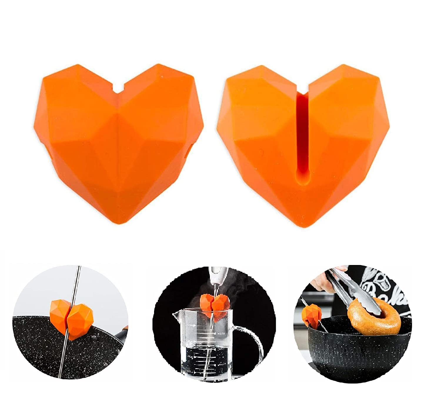 2 PCS 3D Heart Silicone Pot Clip, Candy Thermometer Probe Pot Clip Holer for Kitchen Smoker Oil Milk Temperature , Great for Deep Fryer and Candy Melting Pot,Cute Silicone Kitchen Gadgets(Orange)
