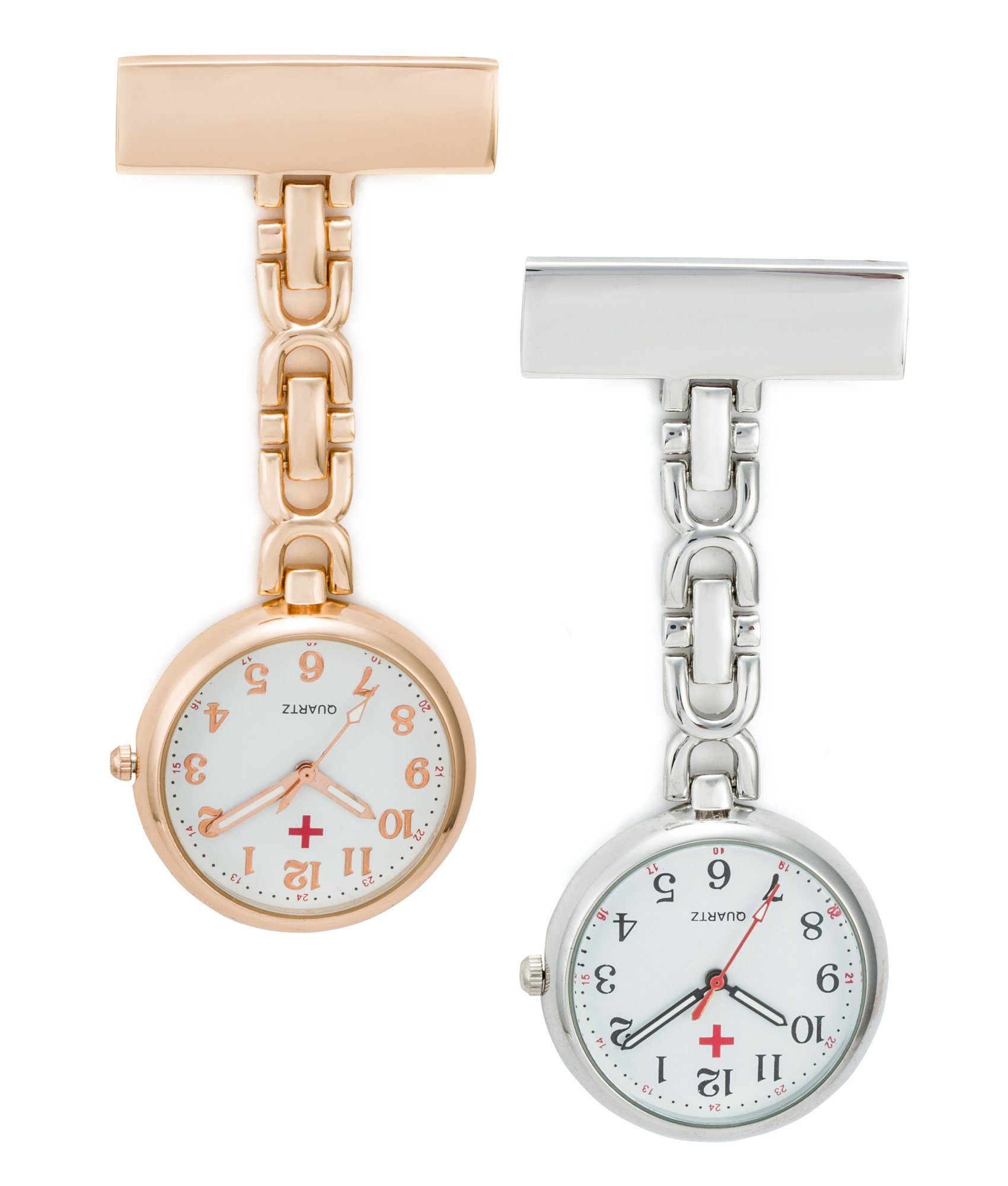 SEWOR Unisex Medical staff Hanging Pocket Watch 2pcs With Brand Leather Gift Box (Rose Gold & Sliver) by SEWOR (Image #1)