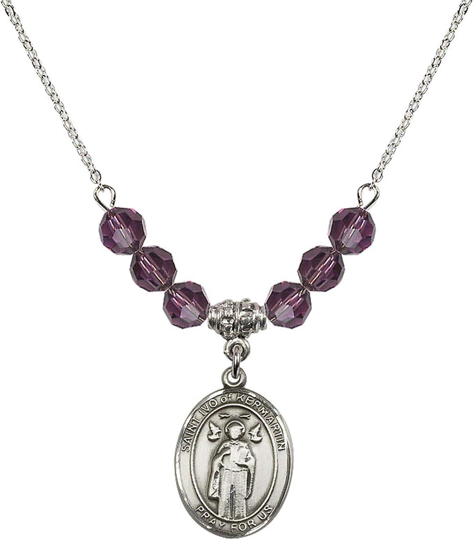 Bonyak Jewelry 18 Inch Rhodium Plated Necklace w// 6mm Purple February Birth Month Stone Beads and Saint Ivo of Kelmartin Charm