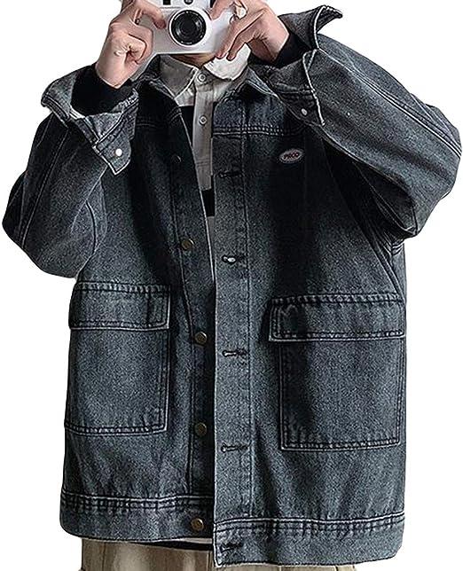 Alhylaジャケット メンズ デニム 春物 通勤 通学 ジージャン メンズ 薄手 コート おしゃれ 折り襟 アウター ポケット付き 韓国 復古風 ヒップフップ風