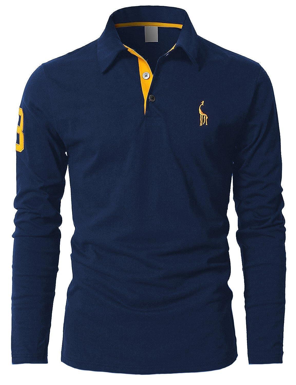 TALLA L. STTLZMC Polos Hombre Mangas Largas Camiseta Algodón Deporte Oficina Botón Cuello
