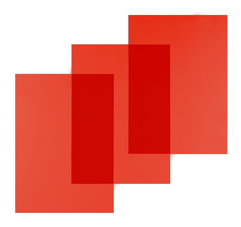 Pavo - Tapa translúcida para encuadernación (A4, PVC, 0,20 mm, 100 unidades), color rojo translúcido: Amazon.es: Oficina y papelería