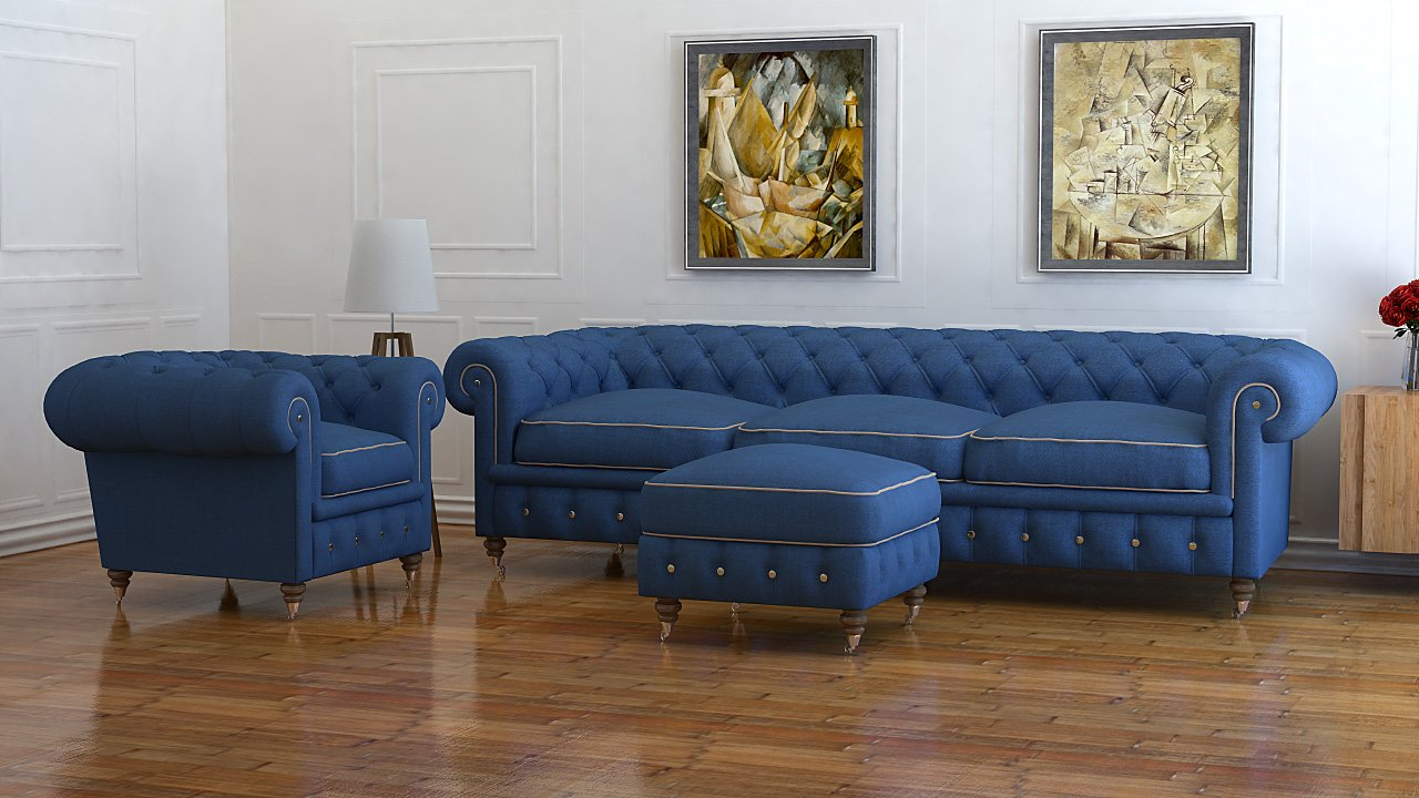 Astounding 4 Seater Blue Wool Chesterfield Sofa Uk Handmade Unemploymentrelief Wooden Chair Designs For Living Room Unemploymentrelieforg