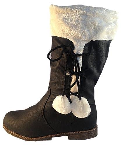 sélection spéciale de prix le plus bas fournir beaucoup de fashionfolie Bottes Femme FOURRÉES Fourrure Bottine Fille Boots Chaud  Pompons Noir L10