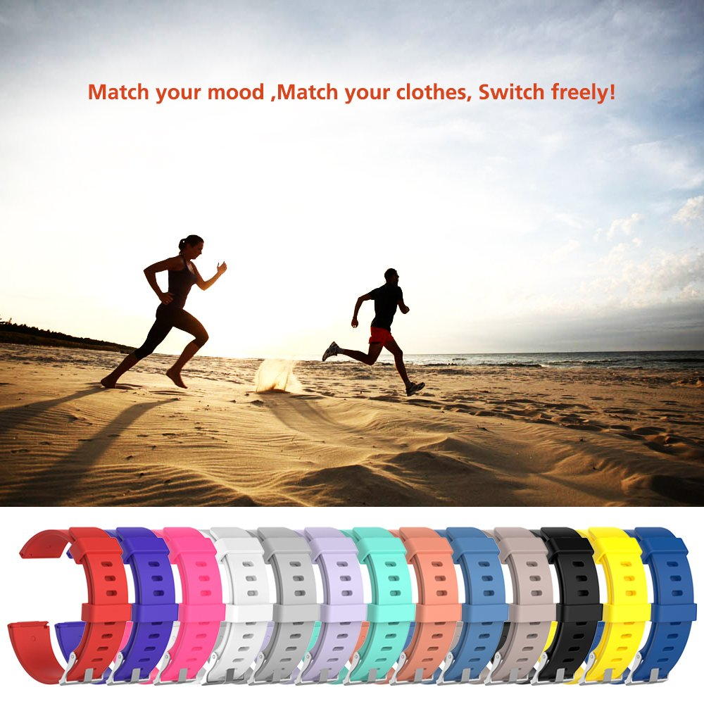 Greatwelly for Fitbit Versa Bands Women Men, Adjustable Soft Silicone Sport Strap Replacement Wristbands, Breathable Accessories Bracelet Wrist (8-Pack, Small (5.5''-7.1'')) by Greatwelly (Image #7)