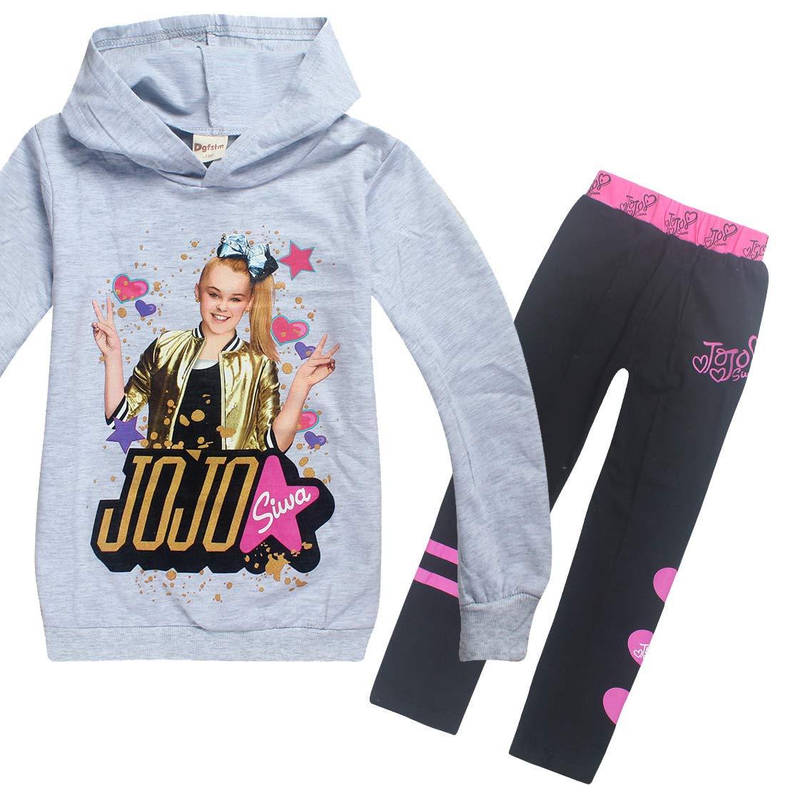 Wazonton JoJo Siwa Hoodies Casual Sweatshirts Shirt Tops Clothes and Trousers for Girls