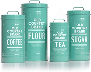 Barnyard Designs Decorative Nesting Kitchen Canister Jars with Lids, Turquoise Metal Rustic Vintage Farmhouse Container Decor for Flour Sugar Coffee Tea Storage, Set of 4, Largest is 5.5