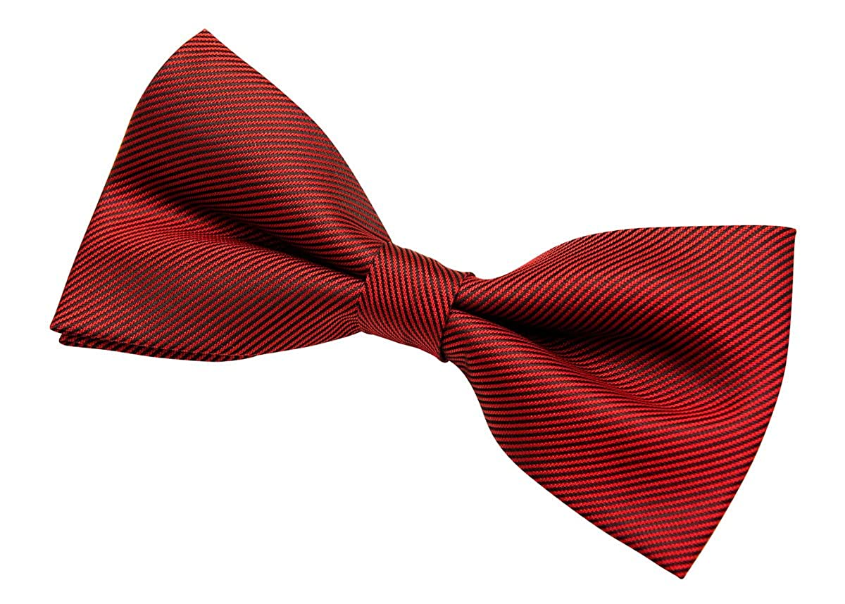 Retreez Mens Modern Stripe Textured Woven Microfiber Pre-tied Bow Tie 5