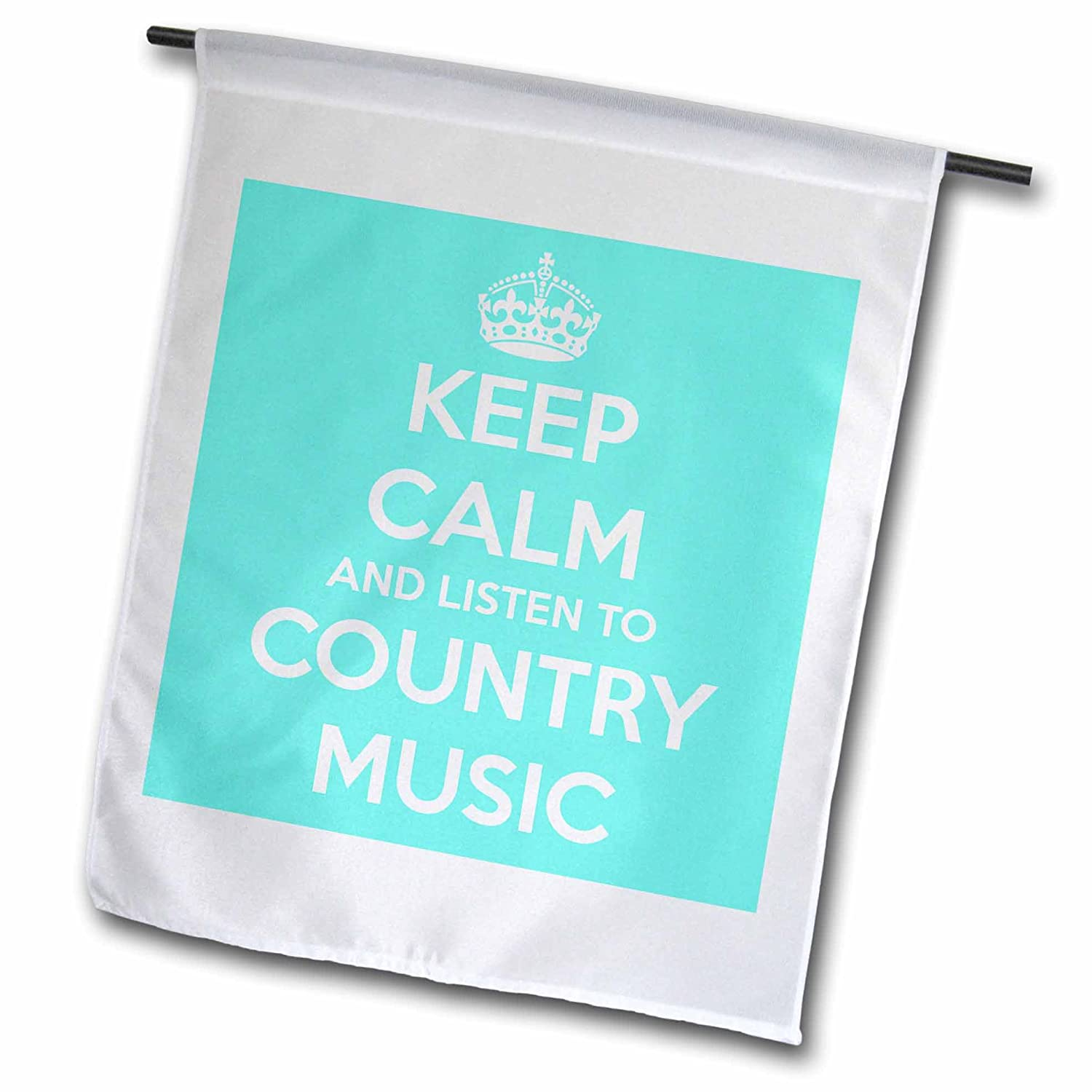 3dRose fl_173403_1 Keep Calm and Listen to Country Music. Turquoise and White Garden Flag, 12 by 18-Inch