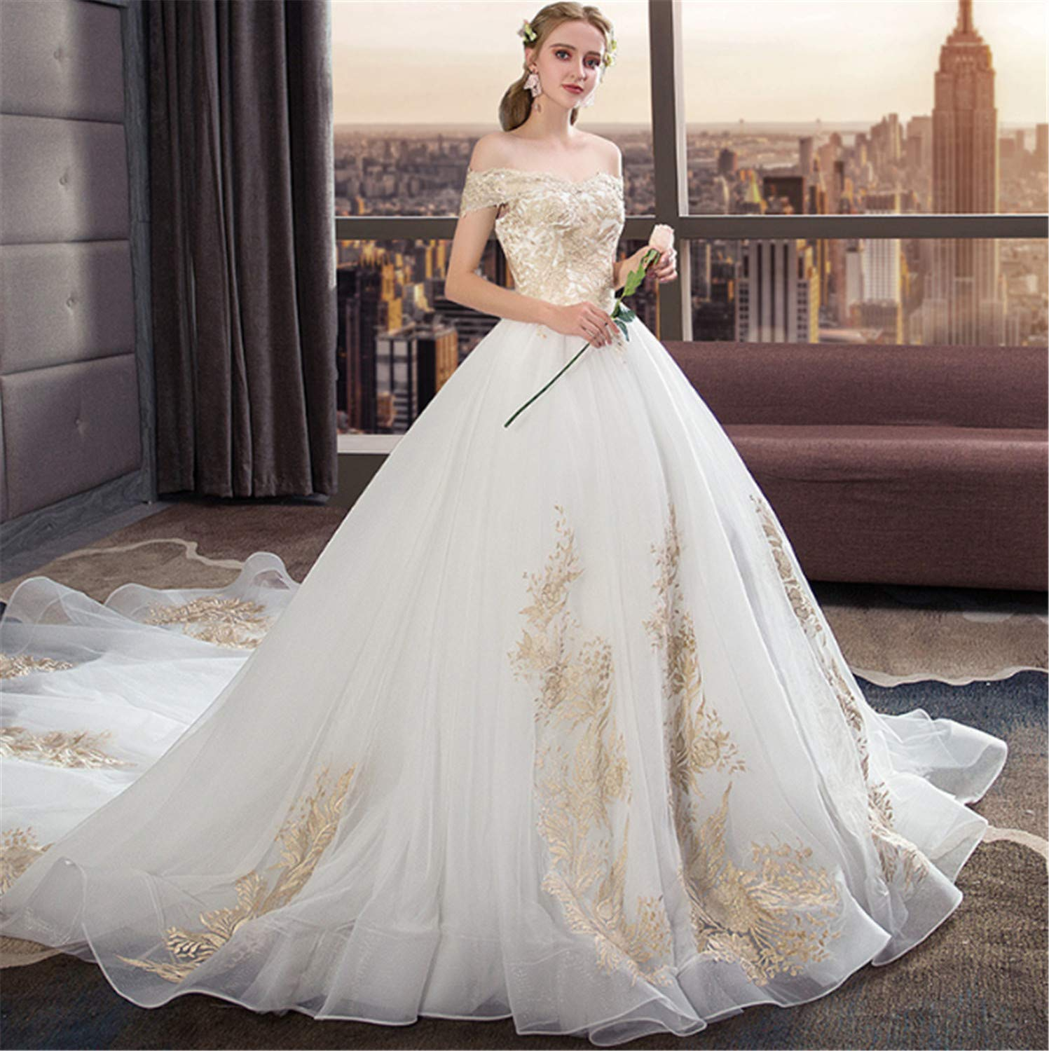 Amazon Elegencez Wedding Dressladies Strapless Backless Dress With Sleeves Perfect Princess Dragged Big Long Trailing Lace White Sports: Big Wedding Dresses Lace At Reisefeber.org