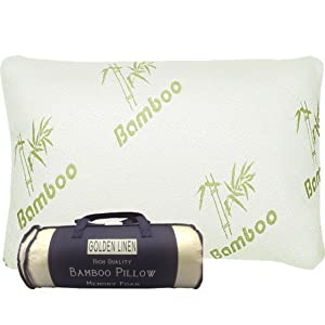 Bamboo Pillow Memory Foam - Stay Cool Removable Cover with Zipper - Hotel Quality Hypoallergenic Pillow Relieves Snoring,migraines, Insomnia, Neck Pain and Tmj, Also Help with Asthema (Queen)