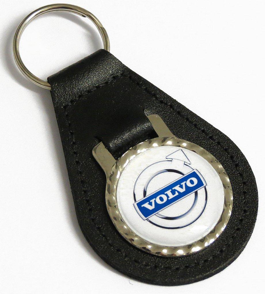 Classic Auto Volvo Badge Black Leather Car Keyring KFP-VO