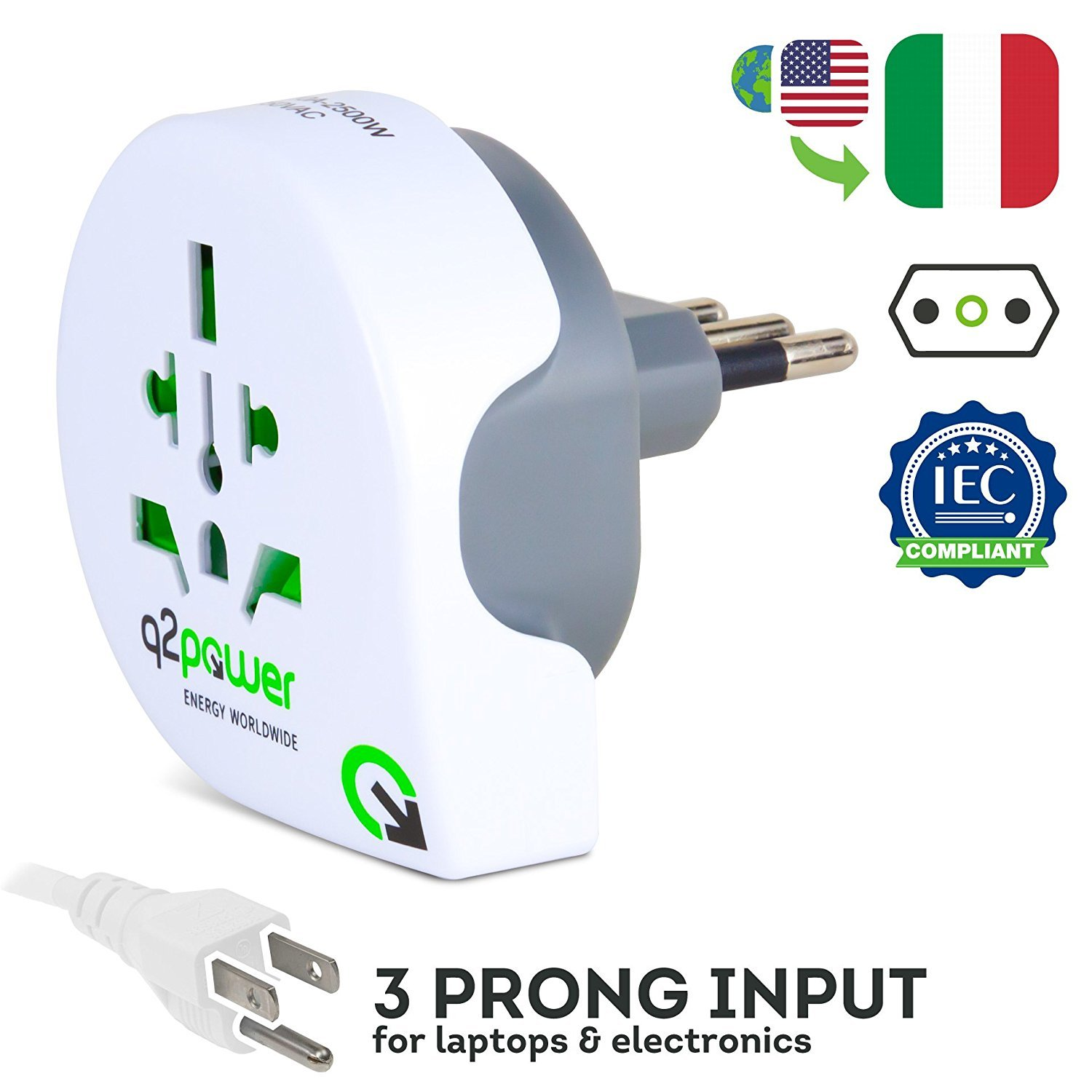 World to Italy Travel Adapter by Q2Power | For Type L Outlets | Grounded & Safe | Works with Laptops, Computers, Smartphone Chargers, Portable Devices | Perfect for International Trips