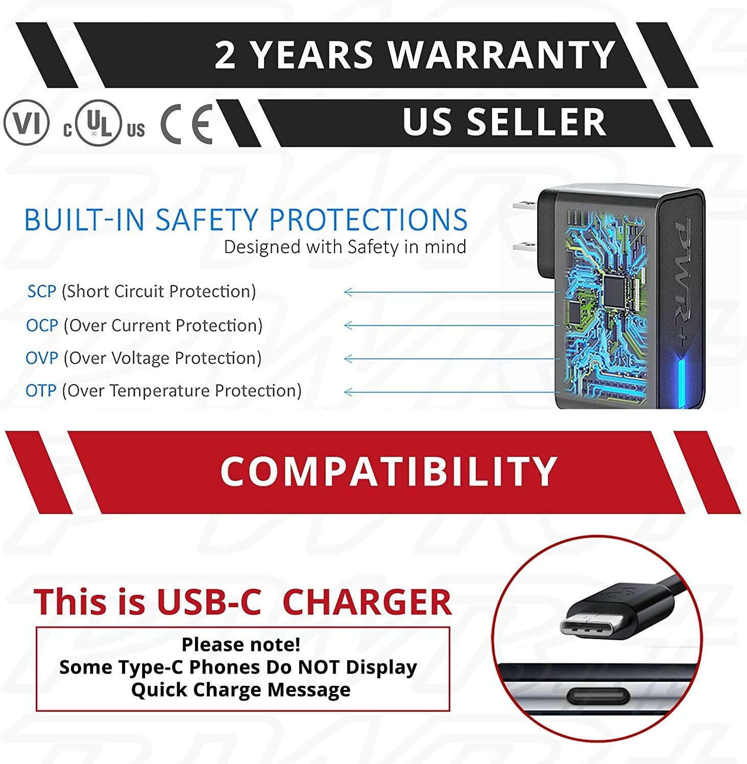 Pwr USB-C Phone Tablet Fast Charger USA UL Listed 2y Warranty 24W Extra Long Cord Type-C Power Adapter for LG Samsung Galaxy iPad Pro Razer ZTE HTC Huawei ASUS Motorola Moto Sony Xperia Android