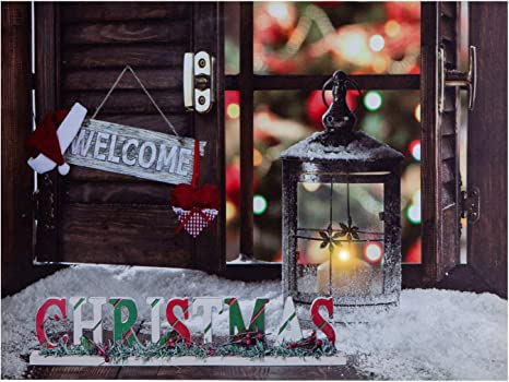 Amazon Com Nikky Home 16 X 12 Welcome Christmas Led Lighted Canvas Wall Art Prints With Window Snow Scene Picture For Holiday Decor Posters Prints