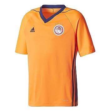 Adidas OFC a JSY y Camiseta de Equipación Línea Olympiacos FC, Niños, Naranja (