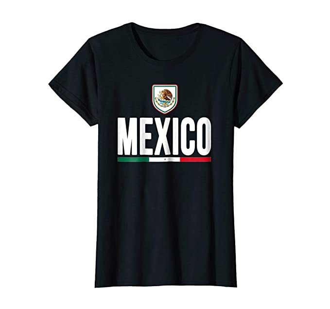 México camiseta 2016 mexicano escudo de armas bandera T negro Large