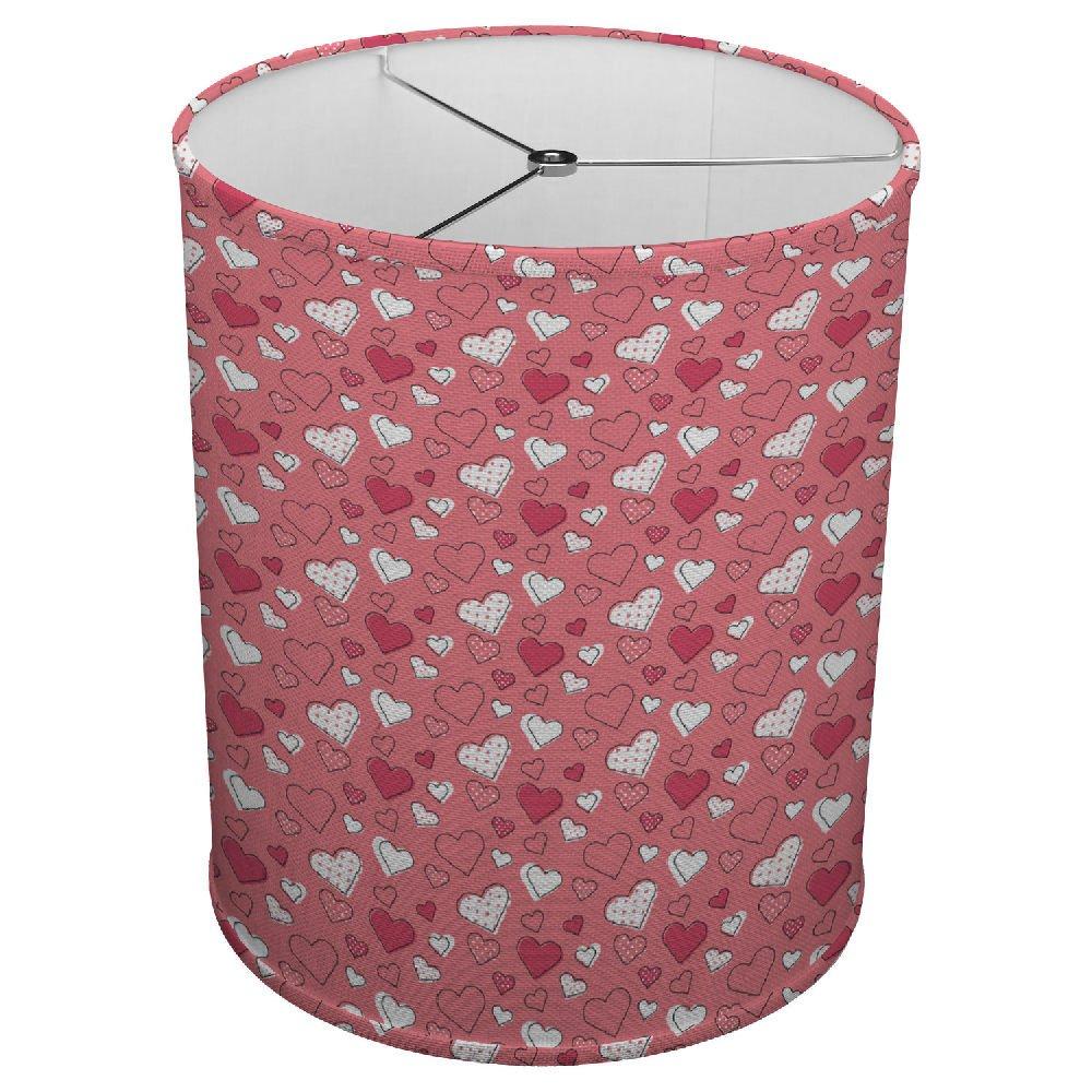 Hardback Linen Drum Cylinder Lamp Shade 8'' x 8'' x 8'' Spider Construction [ Love Hearts ]