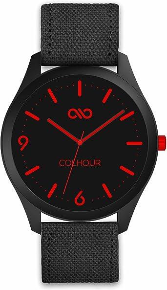 Colhour Watches - Reloj de Pulsera Unisex con Correa de Tela Vancouver Red 18 (Rojo), diseñado y Creado en ESPAÑA y Mecanismo japonés Miyota by Citizen: Amazon.es: Relojes