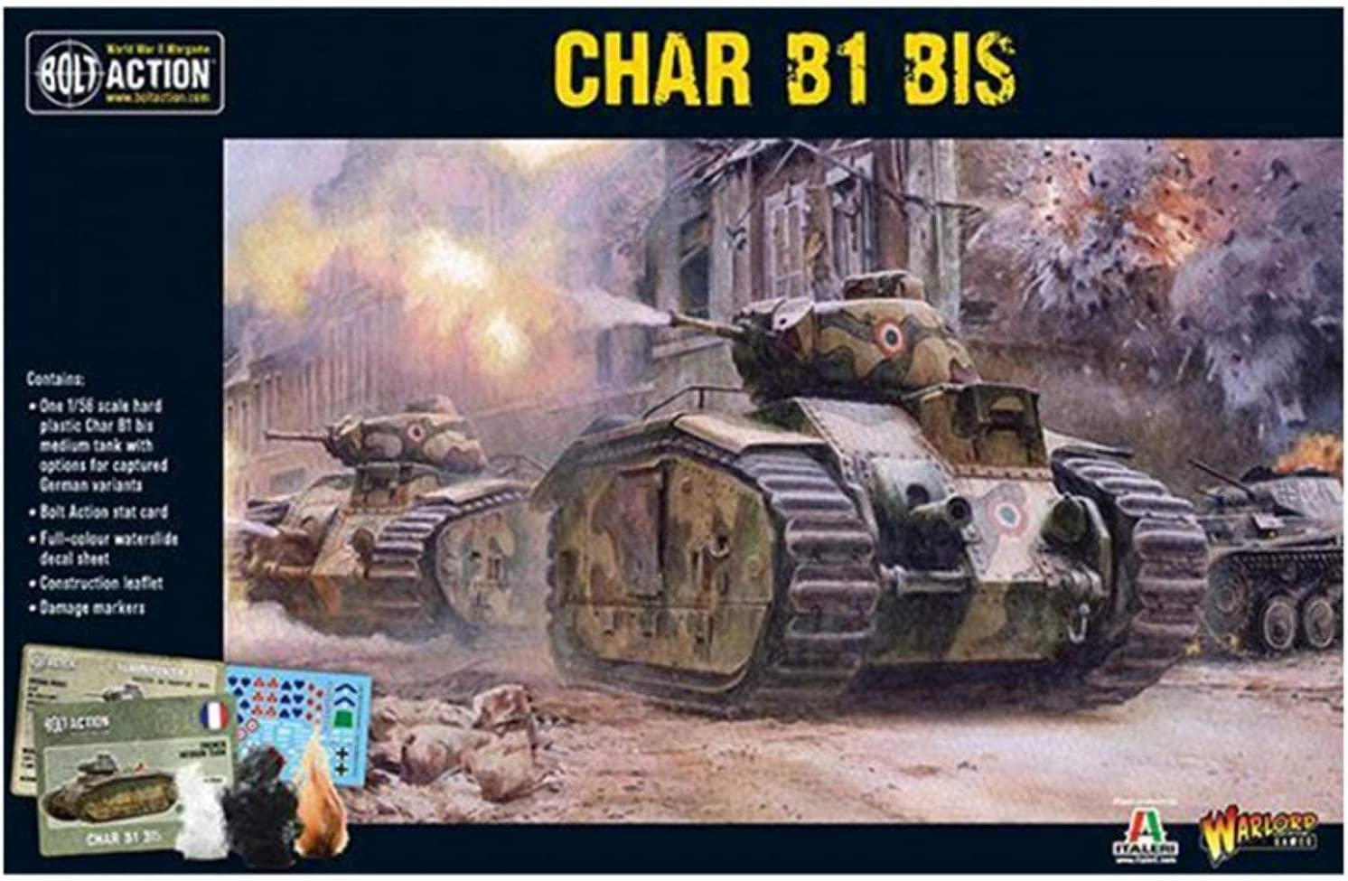Bolt Action Char B1 Bis Tank 1:56 WWII Military Wargaming Plastic Model Kit