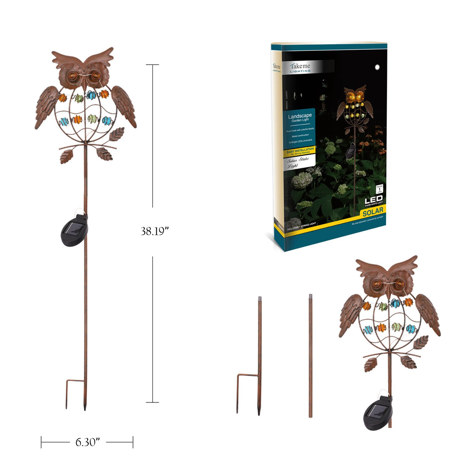 Take Me Garden Solar Lights Outdoor Powered Wiring Outside Landscape Stake Metal Owl Led Decorative For Walkway Pathway Yard
