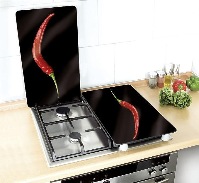 Wenko Juego Cubre Vitros de Cocina Universal Peperoni, Vidrio, Multicolor, 52x30x4,5 cm, 2 Unidades