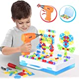 Kunmark Building Block Games Set with Toy Drill & Screwdriver Tool Set | Educational Building Blocks Construction Games…