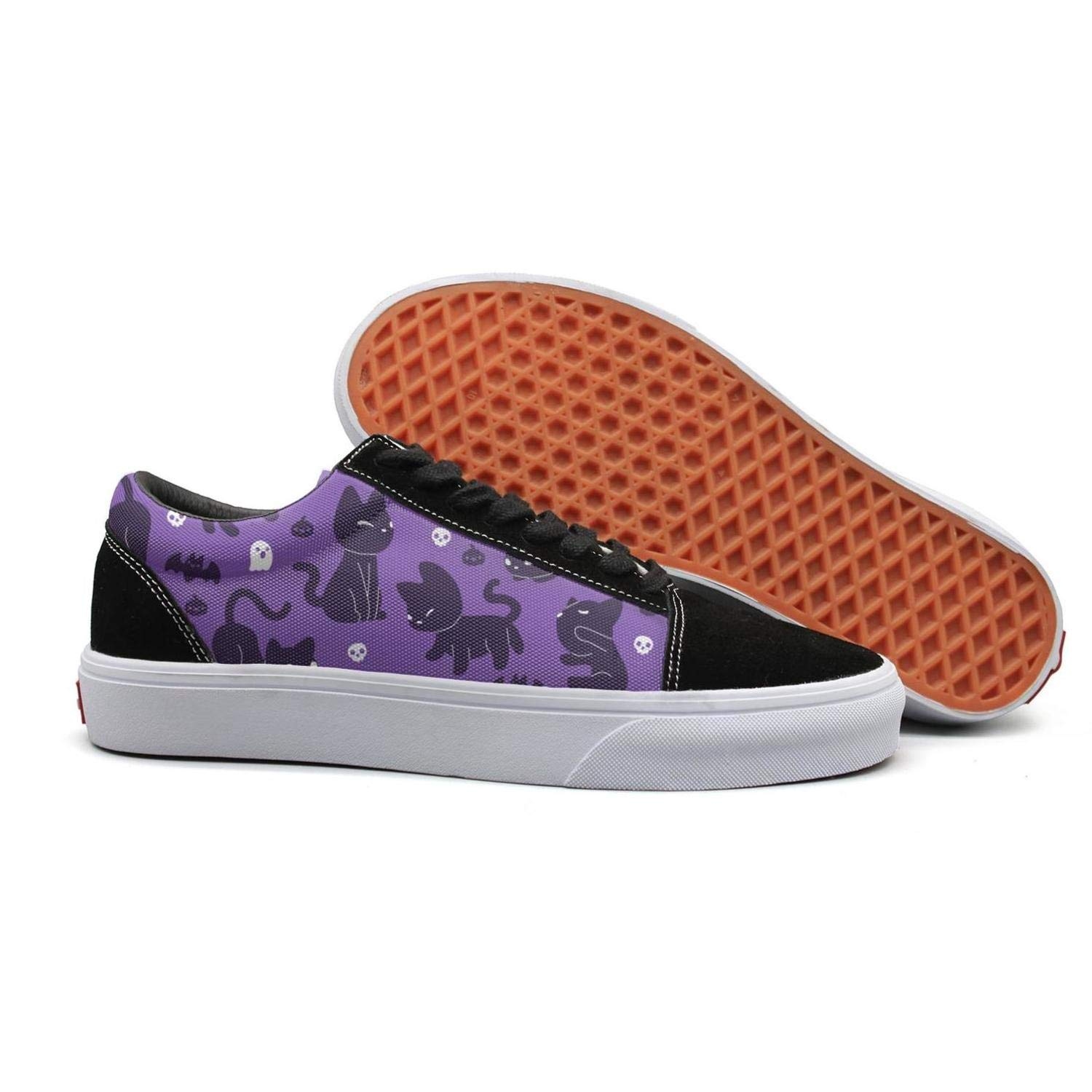 Cats with Bats Young Women Flat Flat Shoes for Womens Skateboard Budge Leather Shoe