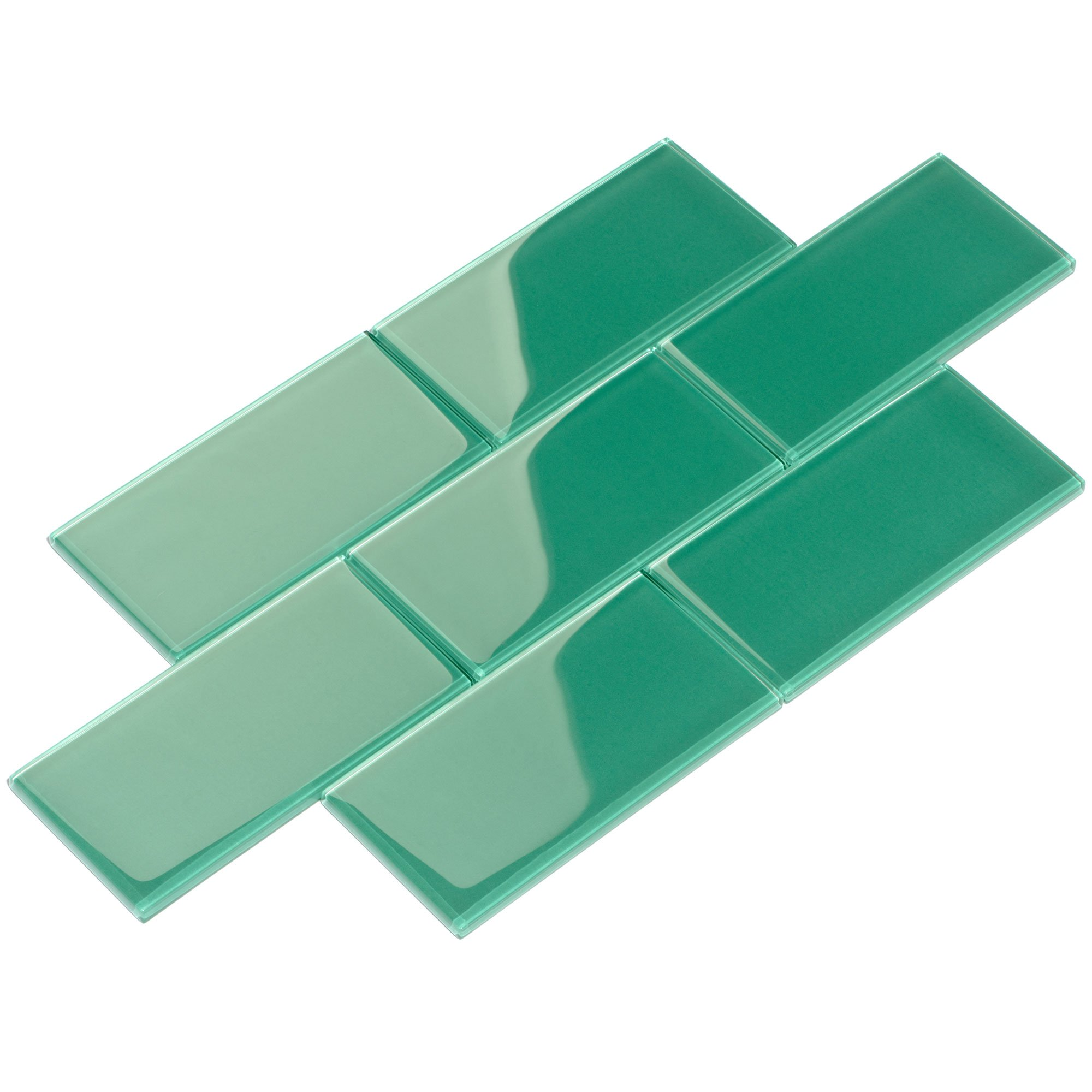 Giorbello G5936-44 Glass Subway Backsplash Tile, 3 x 6, Emerald Green
