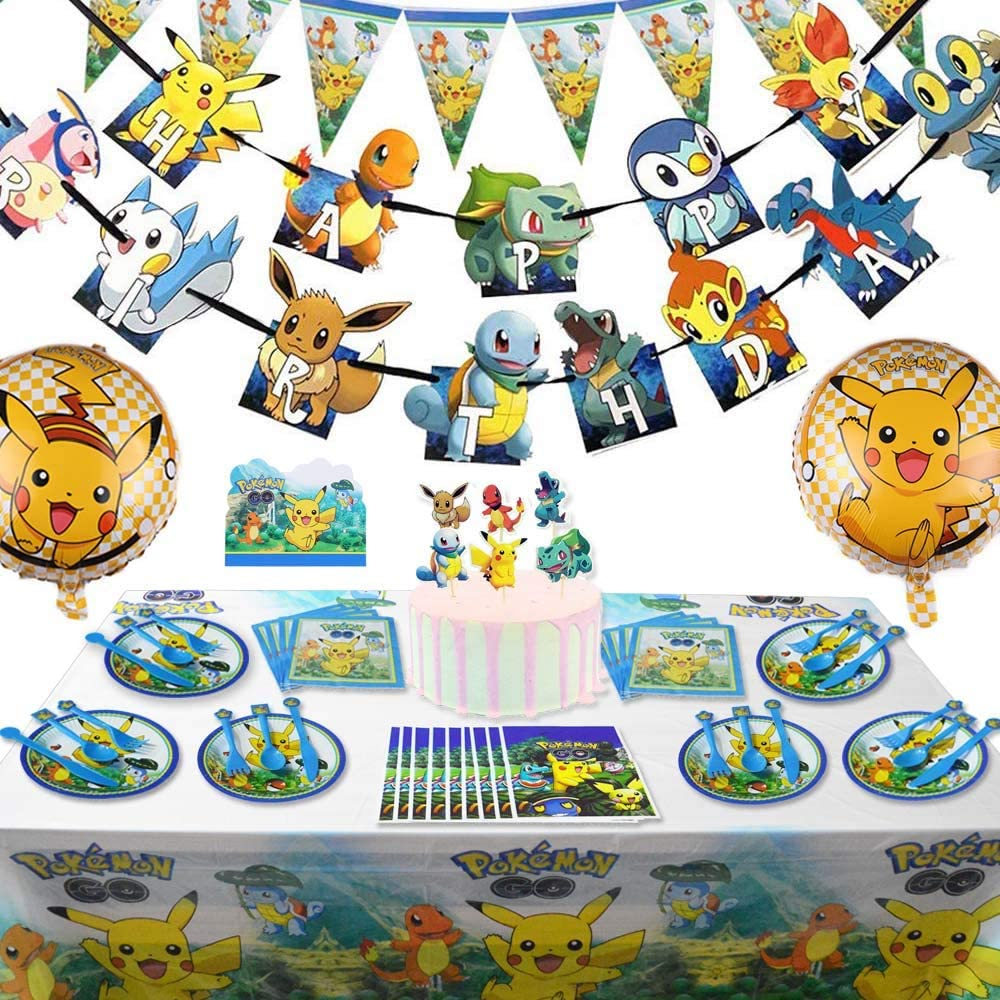 141 Pcs Pikachu Birthday Party Supplies Pokemons Party Decoration for Kids Bundle of Decor for Boys and Girls Includes Kit Favor Bags Tables Cloth Invitations Card Balloons