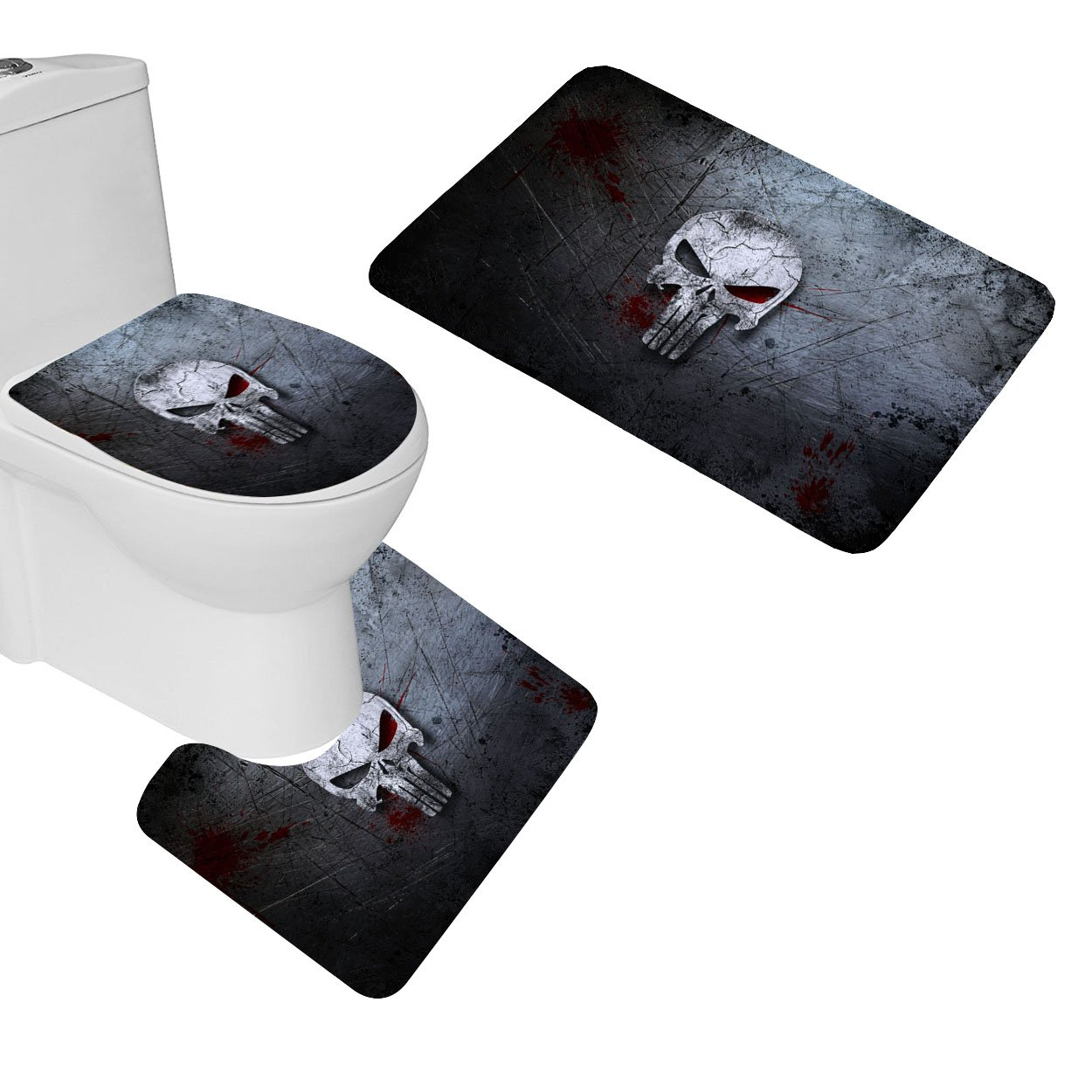 Amazon Com Ofloral 3 Pieces Bath Mat Rug Set Punisher Skull Non