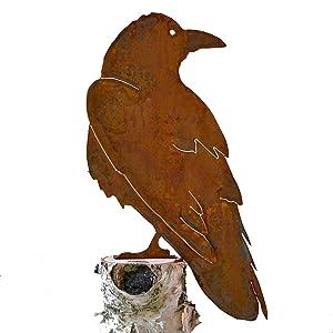 Elegant Garden Design Raven, Steel Silhouette with Rusty Patina