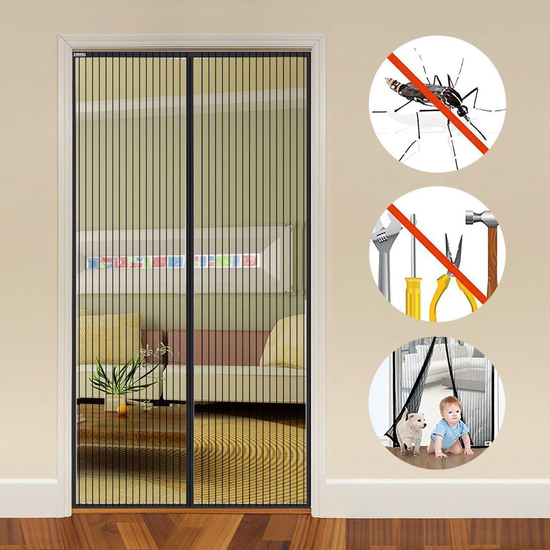Auxent tenda magnetica per le porte con dimensioni 100 x 220CM, Tenda a Mano con Velcro che copre l'intero telaio, Arresto Automatico, Conserva l'aria fresca non facendo entrare quella calda, Blocco Bug Immesso con Chiusura Parte Auxmir