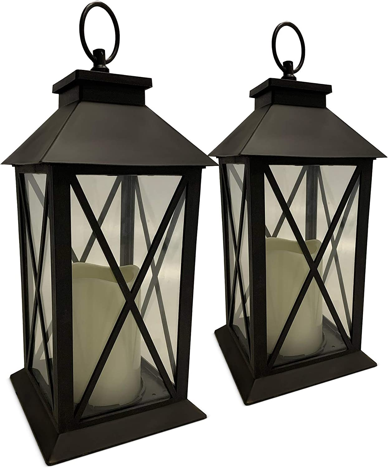 2 PACK BATTERY POWERED FLICKERING FLAME EFFECT LED CANDLE HANGING LANTERNS