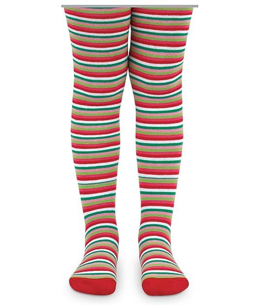 22396bdeed6 Jefferies Socks Girls Holiday Christmas Stripe Pattern Fashion Novelty  Tights 1 Pack (2-4