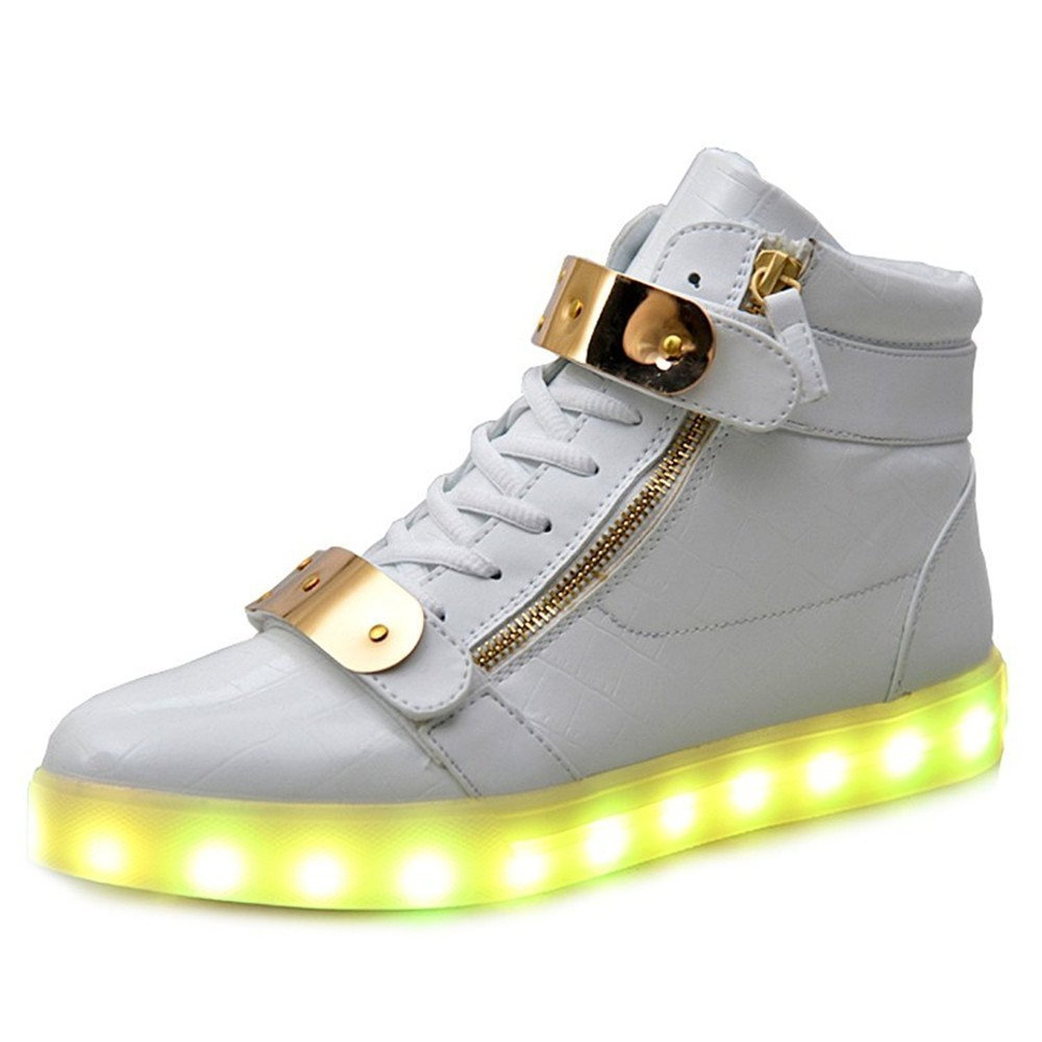 High Top Led Light Up Shoes 11 Colors Flashing Rechargeable Sneakers for Mens Womens (White 37)