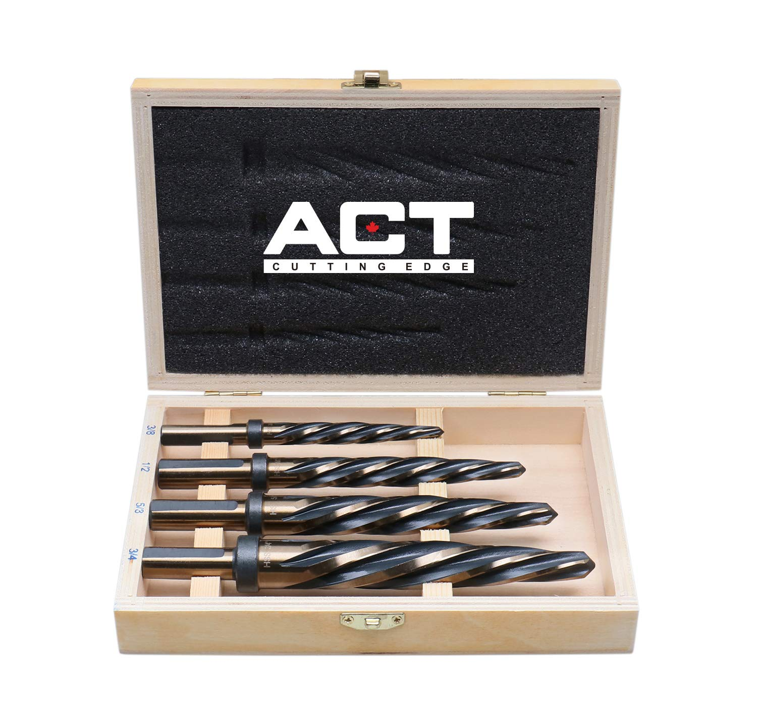 """Accusize Industrial Tools 4 Pc H.S.S. Standard Spiral Flute Super Premium Car Reamer Set, 3/8"""", 1/2"""", 5/8"""", 3/4"""", to Fit 1/2'' Shank Chuck, 0522-1800"""