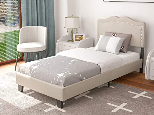 mecor Upholstered Linen Twin Platform Bed Frame