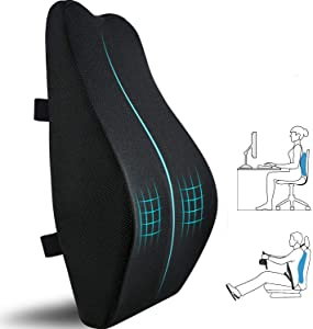 Lumbar Support Pillow for Office Chair,Memory Foam Back Cushion for Car Seat,Chair,Computer Desk Chairs,Large Ergonomic Back Pillow for Back Pain Relief,Dual Available Straps with 3D Cover Black