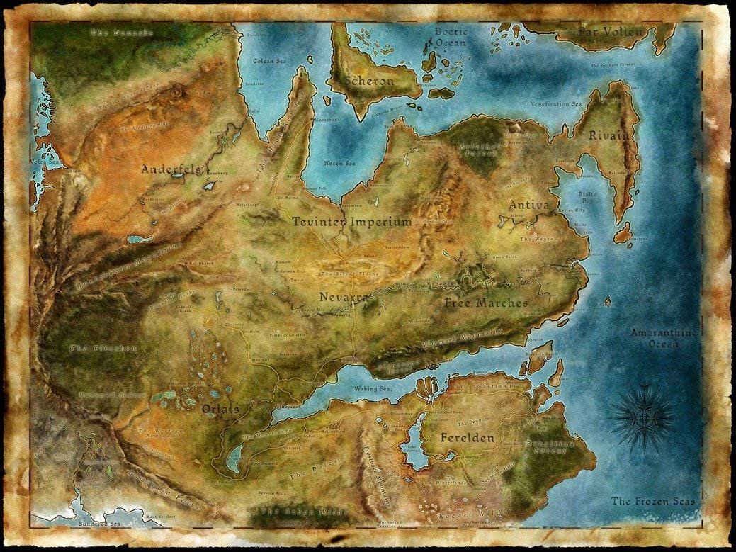 NewBrightBase Thedas Map Dragon Age Fabric Cloth Rolled Wall Poster Print  32x24