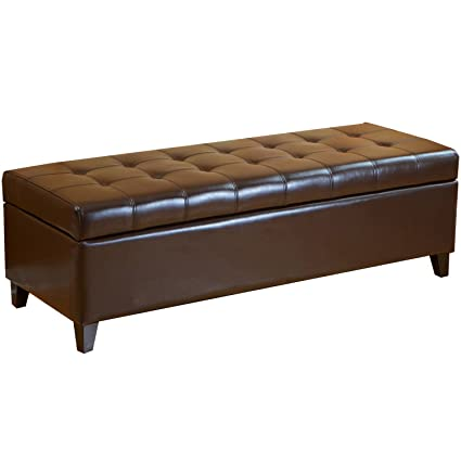 Gentil Best Selling Mission Brown Tufted Leather Storage Ottoman Bench