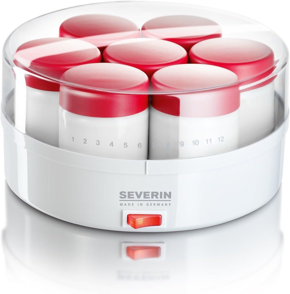 SEVERIN Yogurtera, Incl. 14 Tarros de 150 ml, Marcador de Memoria, JG3519, Blanco/Rojo
