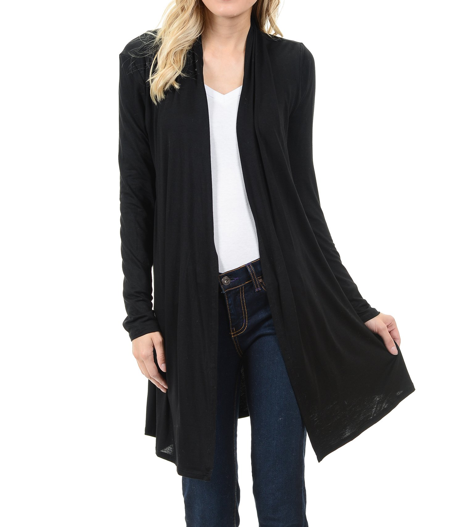 EttelLut Long Open Front Lightweight Soft Knit L/Sleeve Cardigan Sweaters Regular and Plus Size Black XXL
