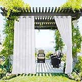 NICETOWN Waterproof Patio Curtain Sheer Texture for Outdoor Living, Rustproof Silver Grommet Indoor Outdoor Curtain…