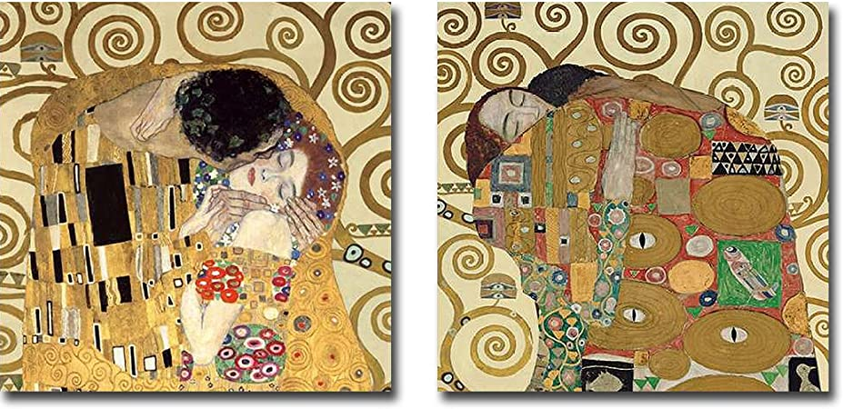 The Kiss The Embrace By Gustav Klimt 2 Pc Premium Gallery Wrapped Canvas Giclee Art Set 30 In X 30 In Each Canvas In Set Ready To Hang Posters Prints